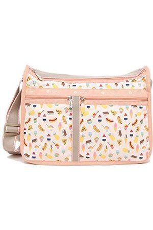 LeSportsac Summer Sweets Deluxe Everyday Crossbody Tasche + Kosmetiktasche, Stil 7507/Farbe F639, einzigartige Eiswaffel-Reißverschluss, schillernde Glitzer-Eistüten-Grafik, 3-farbiger Gurt