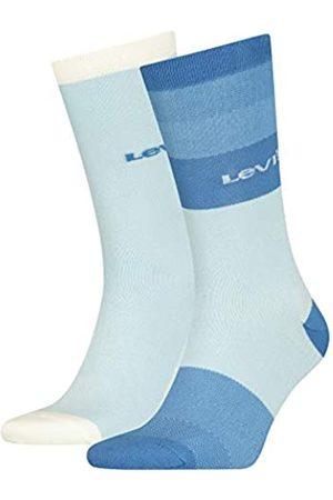 Levi's Unisex-Adult Gradient Stripe Regular Cut (2 Pack) Socks, White/Blue