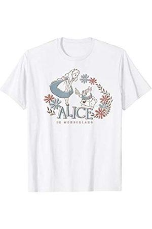 Disney Alice In Wonderland Rabbit & Alice Floral Logo T-Shirt