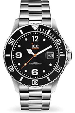 Ice-Watch ICE steel Black silver - Schwarze Herren/Unisexuhr mit Metallarmband - 016031 (Medium)