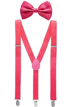 Man of Men Fliege und Hosenträger für Herren – Y-Form Hosenträger und Fliege – viele Farben zur Auswahl - Pink - Eine Größe passt meistens
