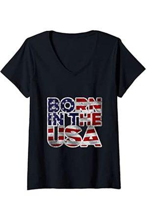Bahaa's Tee Damen Proud Born In The USA Novelty Graphic Tees & Cool Designs T-Shirt mit V-Ausschnitt