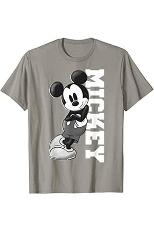 Disney Mickey Mouse Leaning on Name White Graphic T-Shirt
