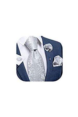 DiBanGu Seiden-Krawatte, gewebtes Taschentuch, Herren-Krawatte und Anstecknadel, Paisleymuster