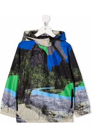 Stella McCartney Kids Jungen Jacken - Landscape graphic-print hooded jacket