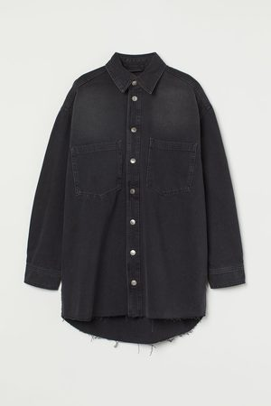 H&M Damen Cropped - Oversized Jeansbluse