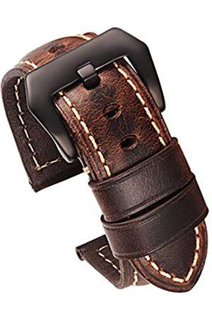 Carty Herren-Uhrenarmband aus Wachs, Kalbsleder, handgefertigt, Leder, 20 mm, 22 mm, 24 mm, 26 mm