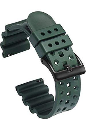 Carty 20 mm Uhrenarmbänder mit Schnellverschluss aus Silikon, hochwertiges Gummi, Ersatz-Uhrenarmbänder für Herren, militärische grüne