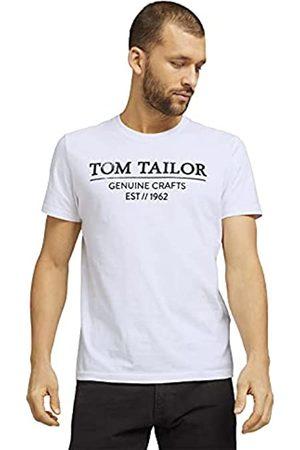 TOM TAILOR Herren Basic Logo-Print T-Shirt, 20000-White
