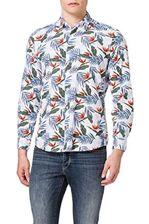 Pioneer Herren Langarm Hawai-Print Hemd, White