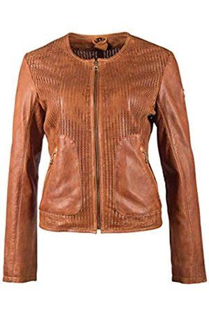 Gipsy Damen kragenlose Lederjacke Kurzjacke aus perforiertem Leder - GGBlanka LNV (XL)