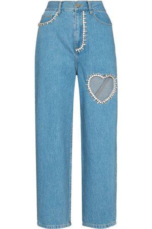 AREA Damen Straight - Crystal heart straight-leg jeans