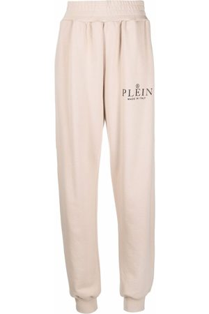Philipp Plein Damen Jogginghosen - Iconic Plein high-waisted cotton track pants - Nude