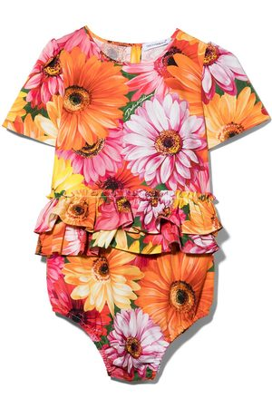 Dolce & Gabbana Baby Bodys - DG BABY GIRL AIO W SS IN FLRL PRNT W FRL