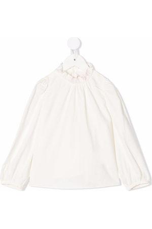 BONPOINT Ruffle-collar long-sleeved blouse - Nude