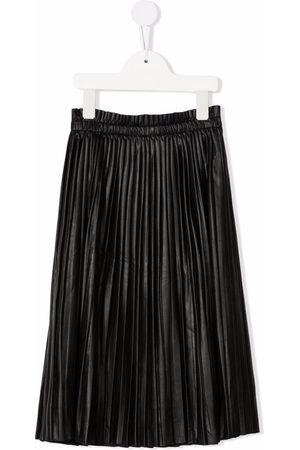 MM6 KIDS Leather-effect pleated midi skirt