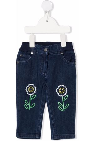 Stella McCartney Cropped - Floral-embroidered denim trousers
