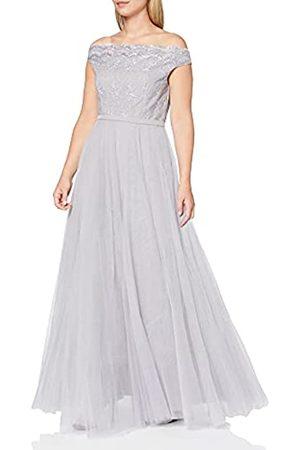 Little Mistress Damen Partykleid Grey Off The Shoulder Embroidered Mesh Maxi Dress