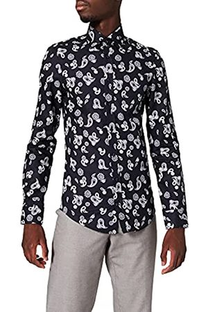 Seidensticker Herren Slim Fit – Softes, Bedrucktes, Schmales Hemd Mit Covered-Button-Down-Kragen – Langarm – 100% Baumwolle Businesshemd