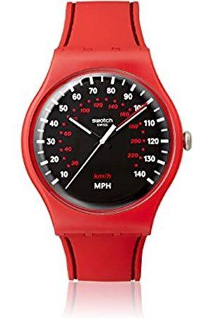Swatch Unisex Analog Quarz Uhr mit Silikon Armband SUOR104