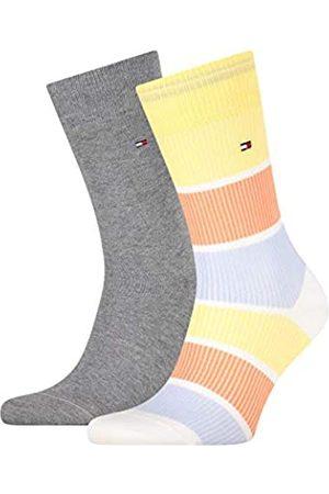 Tommy Hilfiger Mens Rib Color Block Men's (2 Pack) Socks, Yellow