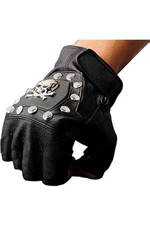 vogueteen Steampunk-Totenkopf-Handschuhe für Herren, Vintage-Stil, echtes Leder