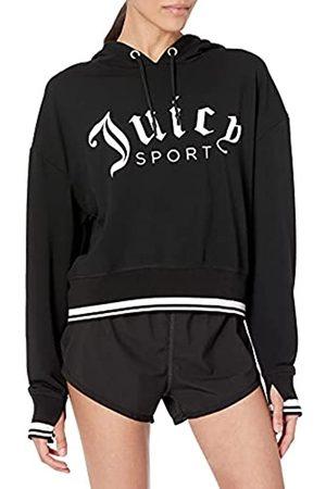 Juicy Couture Damen Cropped Logo Pullover Hoodie Kapuzenpullover