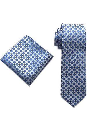 Secdtie Herren-Krawatte, klassisch, kariert, hellblau, weiß