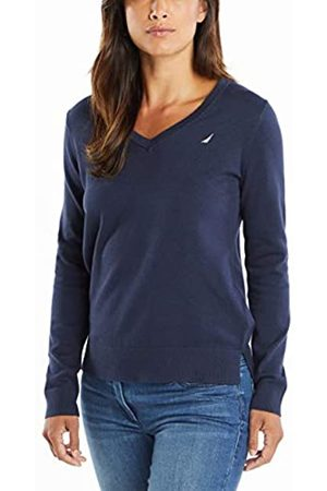 Nautica Damen Effortless J-Class Long Sleeve 100% Cotton V-Neck Sweater Pullover