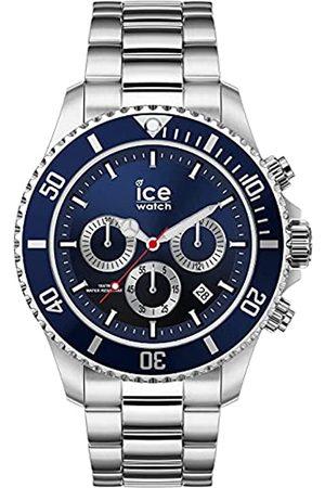 Ice-Watch Herren Uhren - ICE steel Marine silver Chrono - Blaue Herrenuhr mit Metallarmband - Chrono - 017672 (Large)