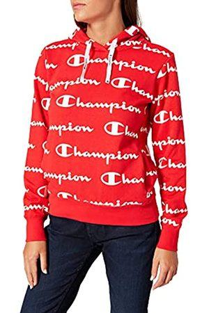 Champion Damen Seasonal Ac Logo Allover Hooded Sweatshirt Kapuzenpulli ,Red
