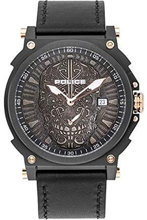Police Unisex Erwachsene Analog Quarz Uhr mit Leder Armband PL15728JSB.02