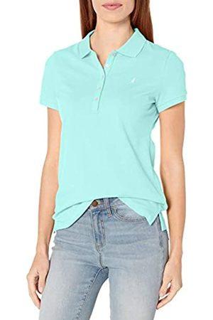 Nautica Damen 5-Button Short Sleeve Breathable 100% Cotton Polo Shirt Poloshirt, -Aruba Blue