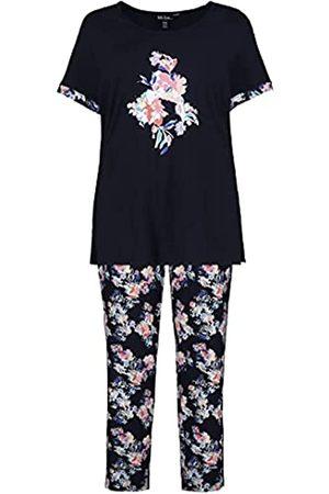 Ulla Popken Damen Pyjama, Viskose, große Blume Pyjamaset