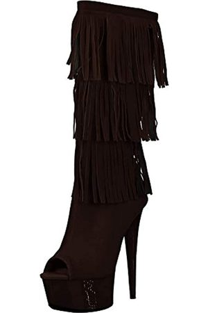 The Highest Heel Unisex-Erwachsene Amber 302 Western Style Open Toe Microsuede Fringe Boot Halblange Stiefel