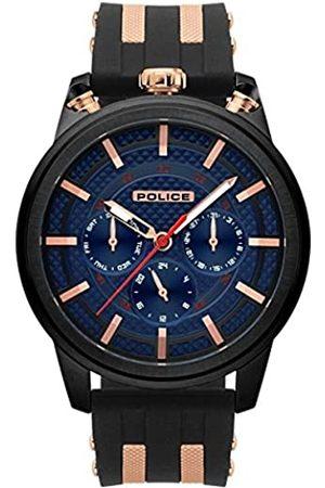 Police Herren Multi Zifferblatt Quarz Uhr mit Silikon Armband PL.15414JSB/03P