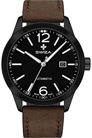 Swiza ArmbanduhrAUTOMATIKETA2824-2AutomatSaphirglas316LEdelstahlPVD-beschichtetGlasbodenKalbslederband