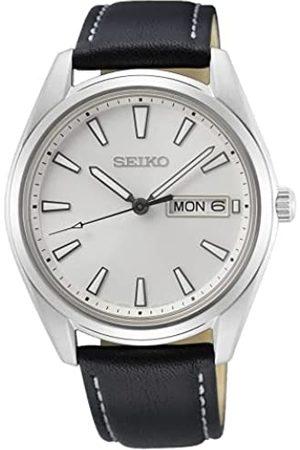 Seiko Herren Analog Quarz Uhr mit Leder Armband SUR447P1