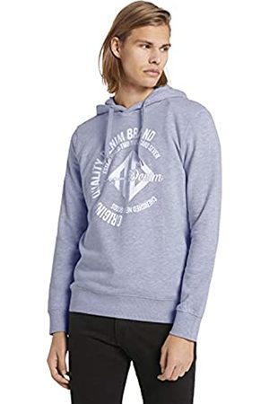 TOM TAILOR Herren 1024417 Logo-Print Hoodie Sweatshirt, 15398-Light Stone Grey Melangé