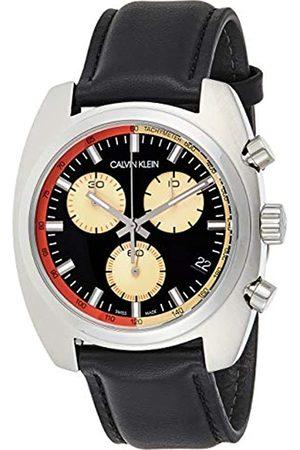 Calvin Klein Herren Chronograph Quarz Uhr mit Leder Armband K8W371C1