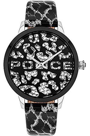 Police Unisex Erwachsene Analog Quarz Uhr mit Leder Armband PL16028MSTB.02