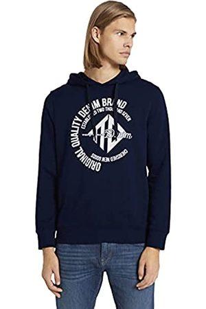 TOM TAILOR Herren 1024417 Logo-Print Hoodie Sweatshirt, 10668-Sky Captain Blue