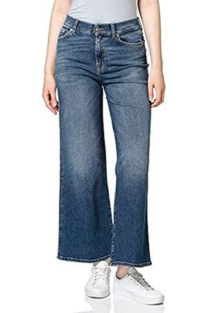 7 For All Mankind Damen Lotta Cropped Luxe Vintage Pacific Grove Flared Jeans, (Mid Blue LG)