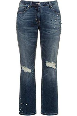 Ulla Popken Damen Straight - Damen Jeanshose Destroy mit Perlen und Strass, Mandy Straight Jeans
