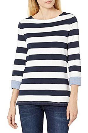 Nautica Damen Solids and Stripes Boatneck 3/4 Sleeve 100% Cotton Shirt Hemd