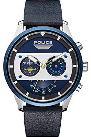 Police Unisex Erwachsene Analog Quarz Uhr mit Leder Armband PL15411JSTBL.03
