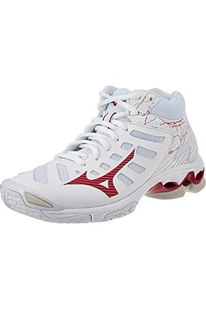 Mizuno Damen Wave Voltage Mid Volleyball-Schuh, White/Persianred/Whtsand