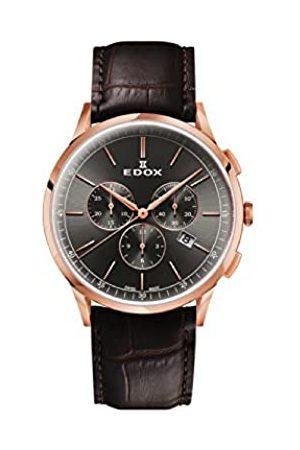 Edox Herren Chronograph Quarz Uhr mit Leder Armband 10236-37RC-GIR