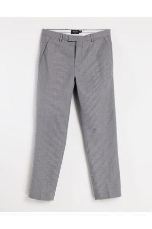 Burton Menswear Burton – Schmal geschnittene Hose in Dunkelgrau mit Mikro-Karomuster