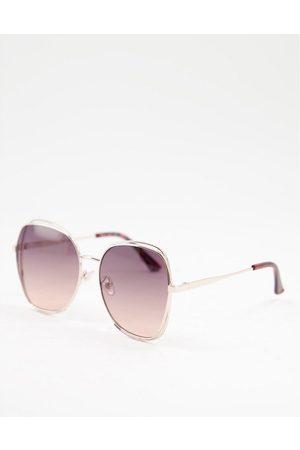 Accessorize – Hexagonale Sonnenbrille mit goldenem Rahmen und Gläsern mit Farbverlauf-Goldfarben